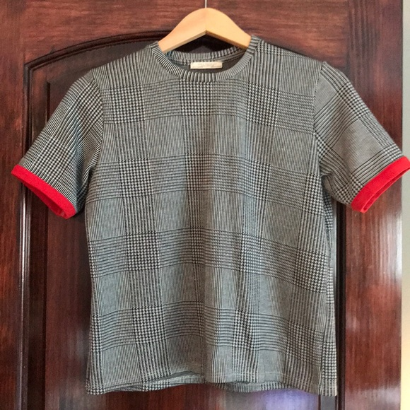 Zara houndstooth print shirt with red piping